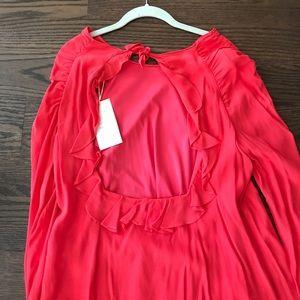 Zara Red Long sleeve Open Back tie Dress